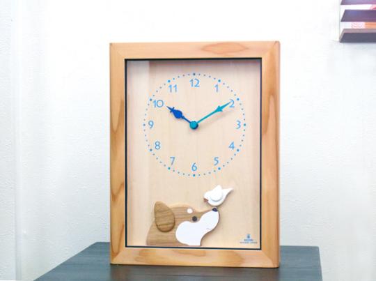 柴犬と白文鳥の時計(アクリルカバー付)