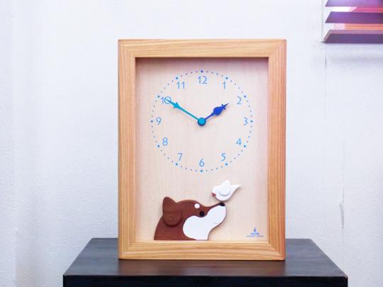 柴犬と白文鳥の時計(黒)