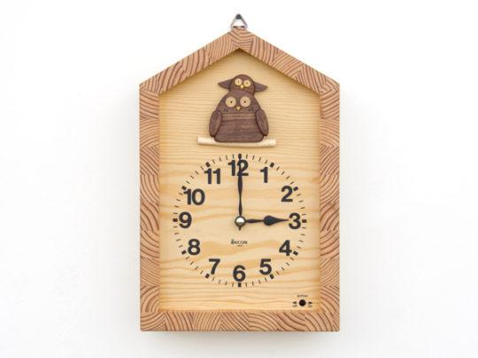 フクロウの親子の時計