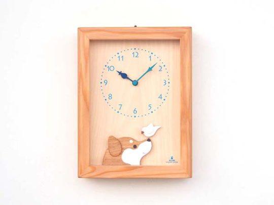 柴犬と白文鳥の時計