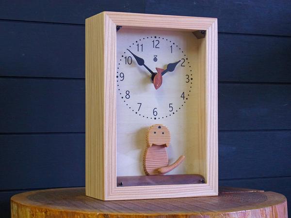木製の掛け時計・置き時計・からくり時計など贈り物に人気の手作り時計 |キコリ時計工房(Kicori)【本店】|仔猫の時計(アクリルカバー付)